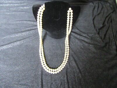 Double String Freshwater Oval Pearl necklace 24""
