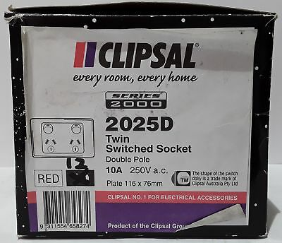 Clipsal 2025D GPO Double Power Point 10A 250V White (Box of 12)