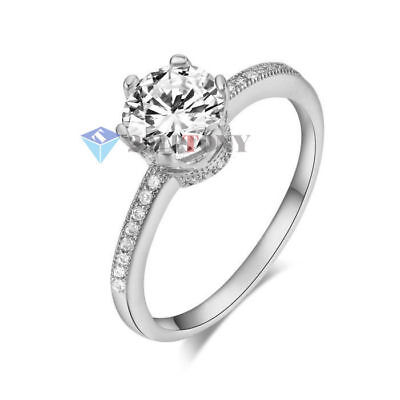 Classic Silver Color Bling Wedding Ring 18K White Gold Plated Crystal Jewellery