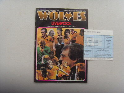 PROGRAMME & TICKET - WOLVES v LIVERPOOL - DIVISION 1 - 1981