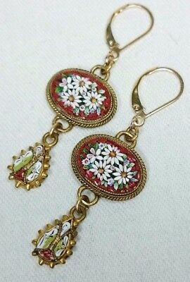 Micro Mosaic Flower Earrings, Gold Filled, Italy Grand Tour Antique Souvenir Jew