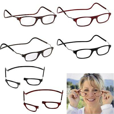 Magnetic Folding Reading Glasses Snap Click Front Neck Hanging Eyewear 4 COLOUR
