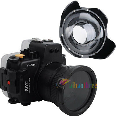 Meikon 60m Waterproof Case + Fisheye Wide Angle Dome Port For Canon 80D 18-135mm