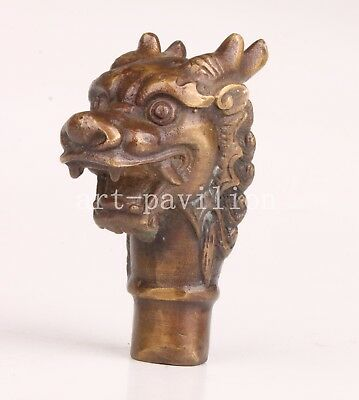 Walking Stick Cane Head Bronze Double Angle Dragon Statue Collectable Old