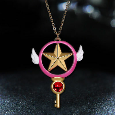 Anime Card Captor Sakura Kinomoto Star Wand Key Pendant Metal Necklace Cosplay
