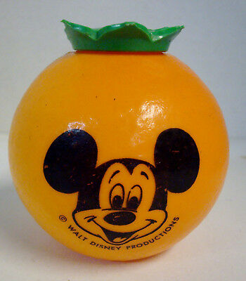 Walt Disney Productions Vintage Orange Shaped Mickey Mouse Drink Cup