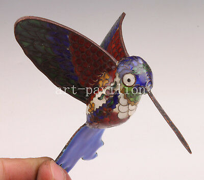 Hummingbird Statue Figurine Rare Old Cloisonne Vintage Collectable  Handwork