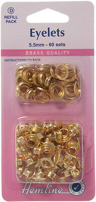 Hemline Brass 5.5mm Eyelets - Refill Pack of 60 sets, Gold Colour - Sewing/Craft