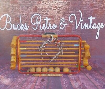 Vintage Old Full Size Wooden Croquet Carry Set Garden Lawn Games French