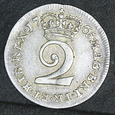 Extremely Rare George III 1765 Silver Maundy Twopence. EF. ESC 2239 R4
