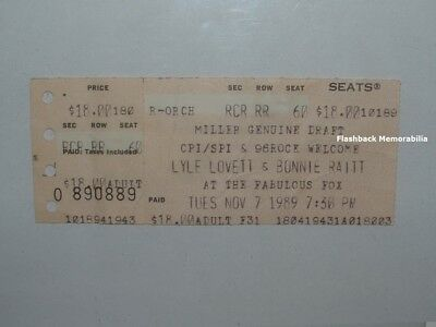 LYLE LOVETT / BONNIE RAITT Unused 1989 Concert Ticket ATLANTA Fox Theatre RARE