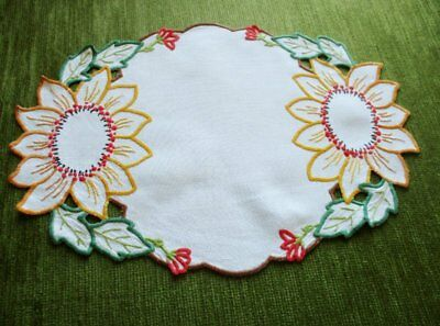 Vintage Tray Cloth Hand Embroidered Sunflowers-Linen