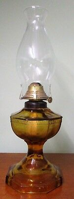 Australian Amber Depression Glass Grecian Key Table Lamp Lantern - Complete