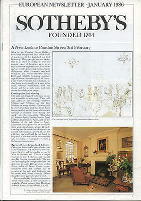Sotheby's European Newsletter - 1986 - Nine Issues : Antiques Art Auctions