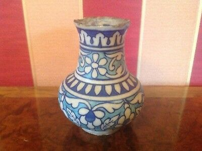 Antique Islamic Middle Eastern Hand Painted Decorated Vase 18C?