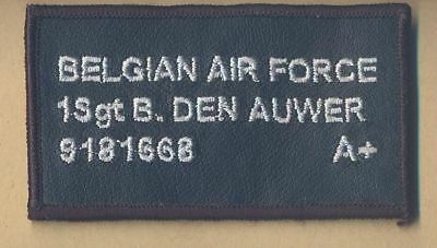 Belgian Air Force name tag patch.