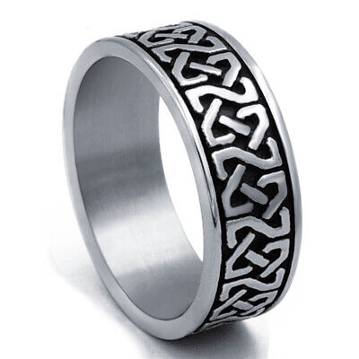8mm Men's Stainless Steel Ring Band Celtic Knot Silver Black jewelry Size 8-15