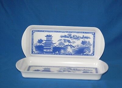 Two blue and white willow pattern melamine sandwich trays