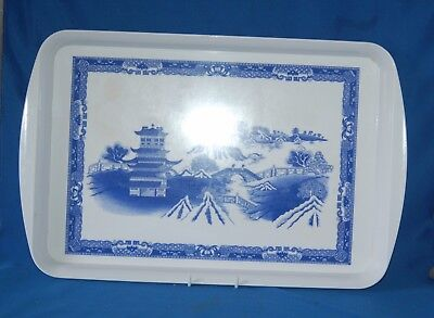 """Blue and white willow pattern 18.25"""" (46cm) by 12"""" (30cm) melamine tray"""