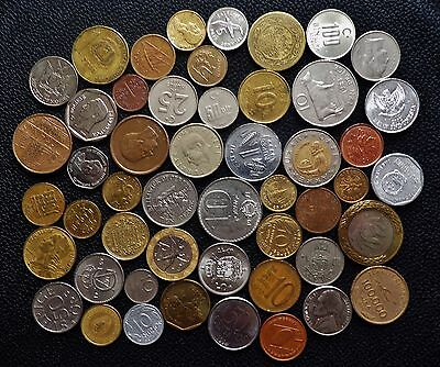 50 Different World Coins Europe Asia North & South America No British Coins