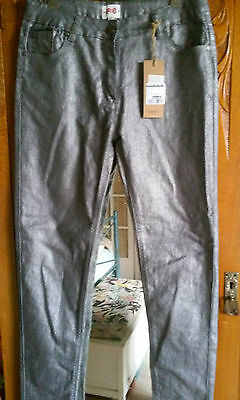 BNWT Girl's size 12 -14 shiny silver jeans (label says 14-15yrs)