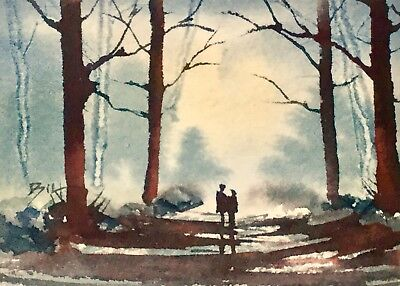 ACEO Original Art Watercolour Painting by Bill Lupton - Just Us