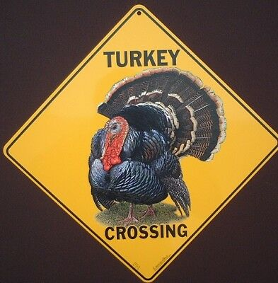TURKEY  CROSSING SIGN aluminum  decor birds novelty  picture home signs painting