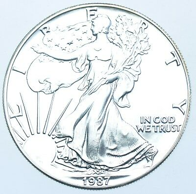 Usa, United States, 1Oz Fine Silver Eagle Dollar $1, 1987 Coin In A Capsule Bu