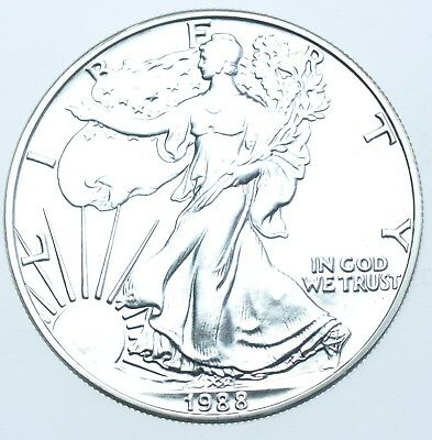 Usa, United States, 1Oz Fine Silver Eagle Dollar $1, 1988 Coin In A Capsule Bu