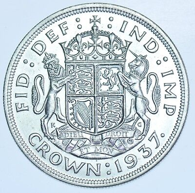1937 Crown, British Silver Coin From George Vi Unc
