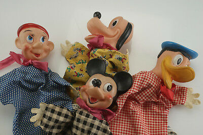 Vintage Walt Disney Gund Hand Puppets Mickey Mouse Donald Duck Pluto Dopey Toy