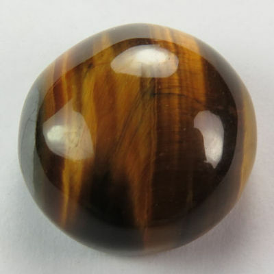 LARGE 15mm ROUND CABOCHON-CUT NATURAL AFRICAN GOLDEN TIGERS-EYE GEMSTONE
