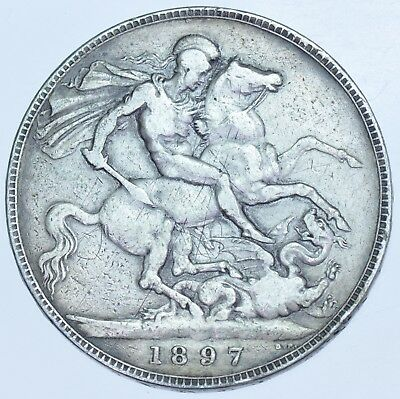 1897 LXI CROWN, BRITISH SILVER COIN FROM VICTORIA aVF