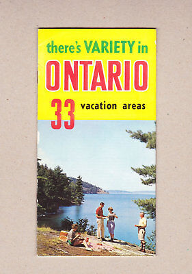 1950's There's Variety In Ontario 33 Vacation Areas Travel Brochure.Map & Photos
