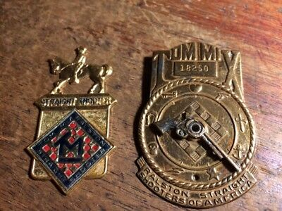VINTAGE Lot 2 1940'S TOM MIX PREMIUM RALSTON STRAIGHT SHOOTERS OF AMERICA BADGE