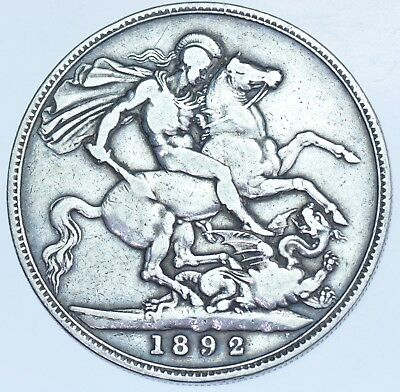 1892 Crown, British Silver Coin From Victoria Vf