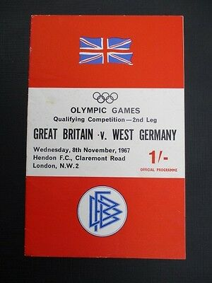 GREAT BRITAIN v WEST GERMANY 8TH NOVEMBER 1967 OLYMPIC GAMES QUALIFYING 2ND LEG
