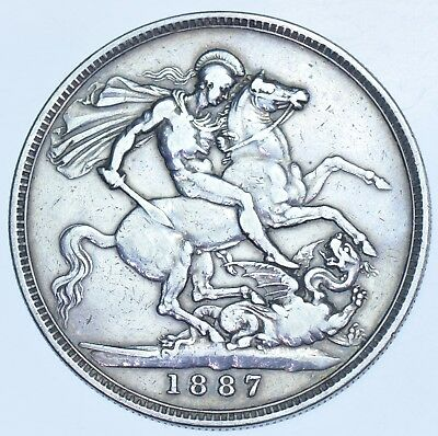 1887 Crown, British Silver Coin From Victoria Vf+