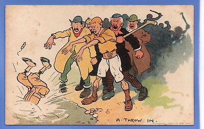 1904 Tom Browne Artist Signed Postcard A Throw In Man In Water Sporting Event