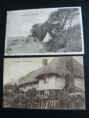 Old Cottages East Mersea Postcard & Mersea Beach looking West Postcard