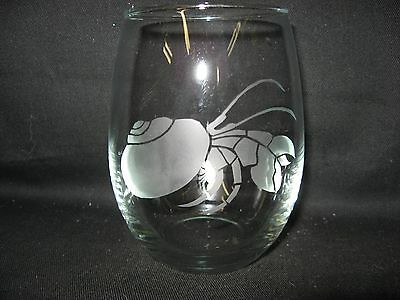 New Etched Hermit Crab Stemless Wine Glass Tumbler