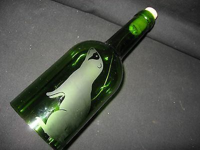 New Etched Ferret & Footprints Glass Wine Bottle Wind Chimes