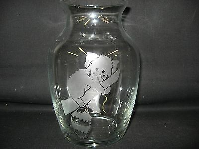 New Etched Lesser Red Panda Glass Vase