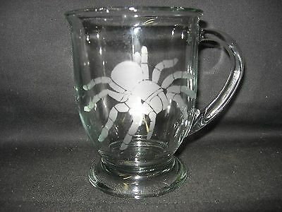 New Etched Tarantula Spider Glass Coffee Hot Chocolate Mug