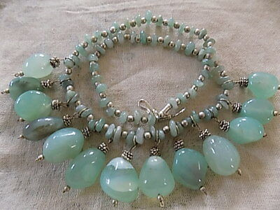 stunning Moss Agate necklace.Polished pale green stones Approx 28cm length