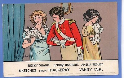 1911 Sydney Carter Artist Signed Postcard Sketches From Thackery Vanity Fair