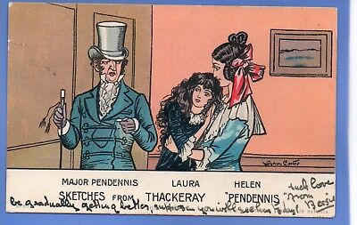 1905 Sydney Carter Artist Signed Postcard Sketches From Thackery Pendennis
