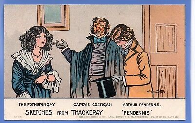 Sydney Carter Artist Signed Postcard Sketches From Thackery Pendennis