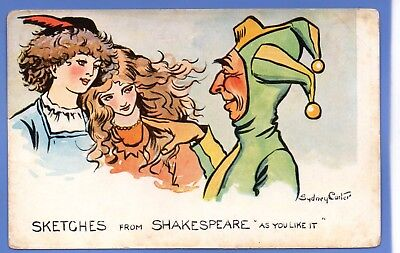 Sydney Carter Artist Signed Postcard Sketches From Shakespeare As You Like It
