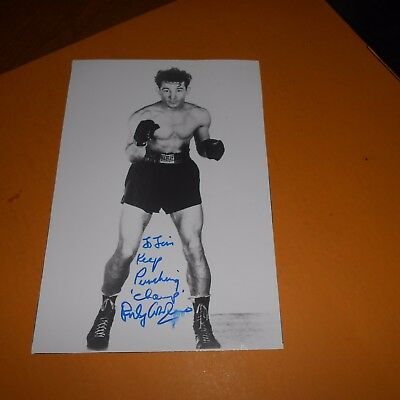 Rocky Graziano, was an American professional boxer Hand Signed Photo